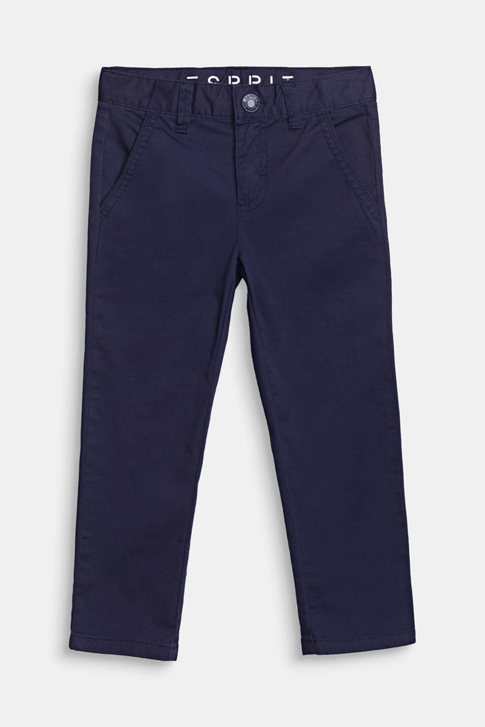 Esprit - Chinos with adjustable waistband, 100% cotton
