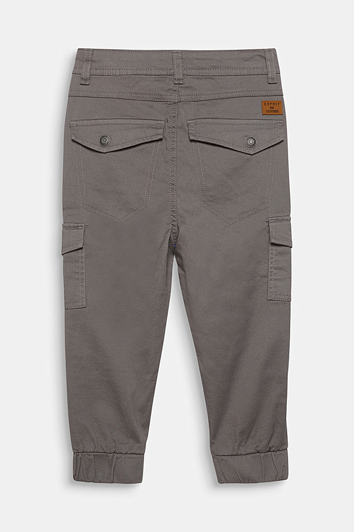 Stretch cotton cargo trousers, adjustable waistband, GREY, detail image number 2