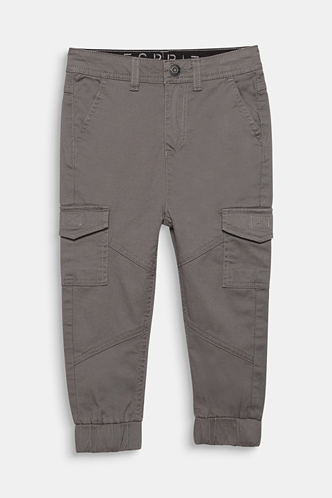 Stretch cotton cargo trousers, adjustable waistband