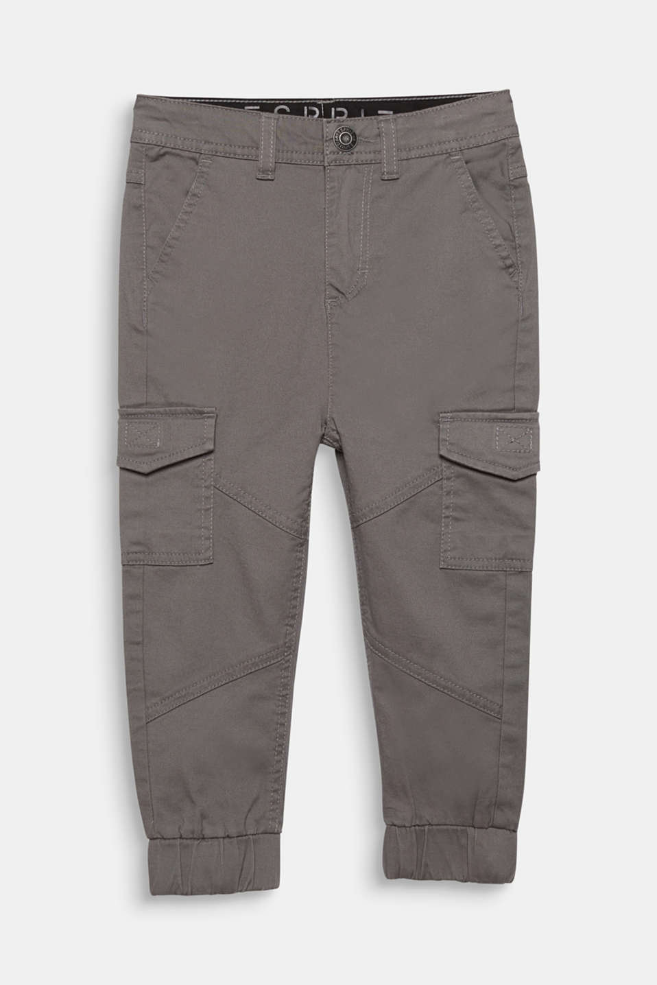 Stretch cotton cargo trousers, adjustable waistband, GREY, detail image number 0