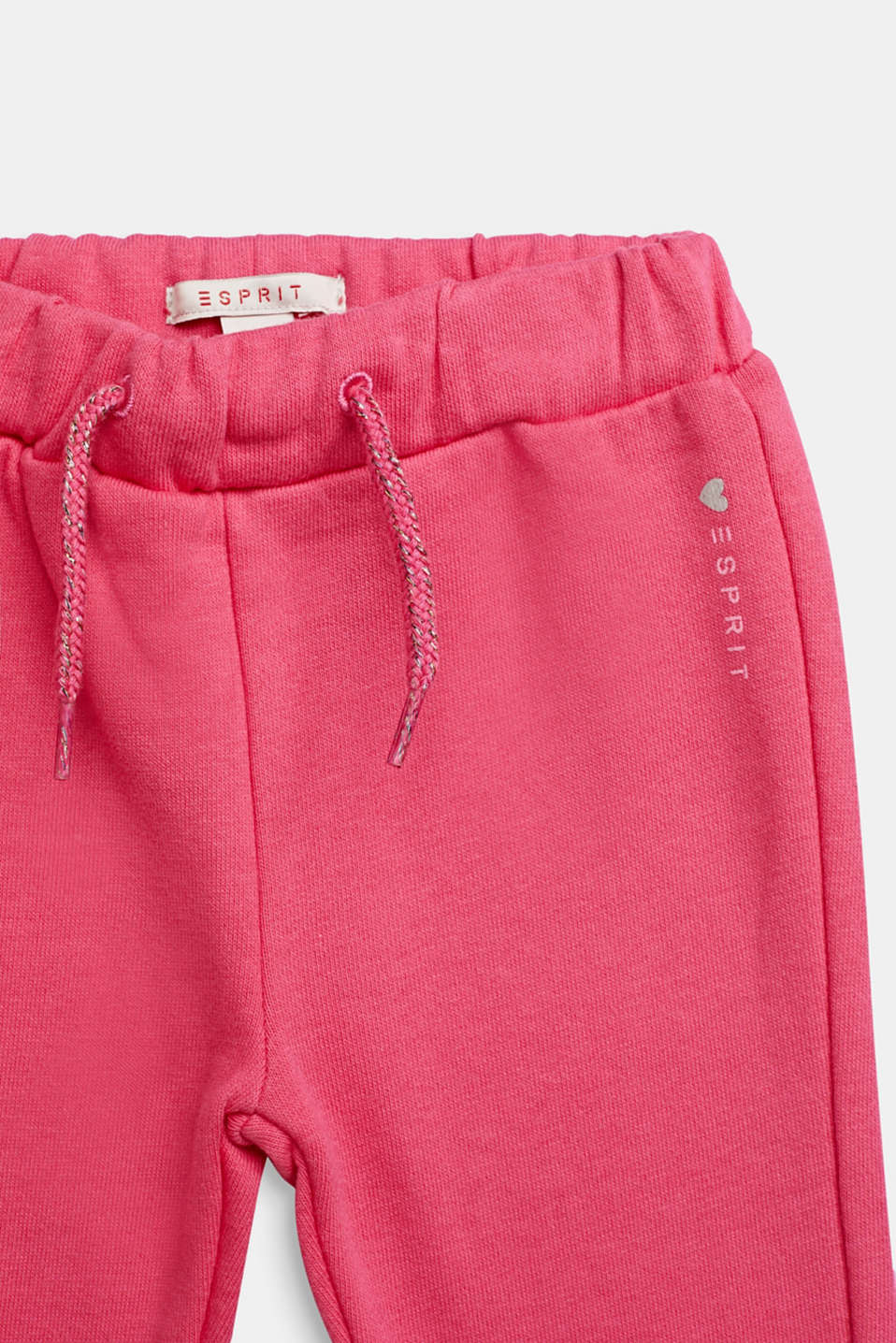 Sweatshirt trousers with glittering drawstring ties, 100% cotton, LCCANDY PINK, detail image number 2