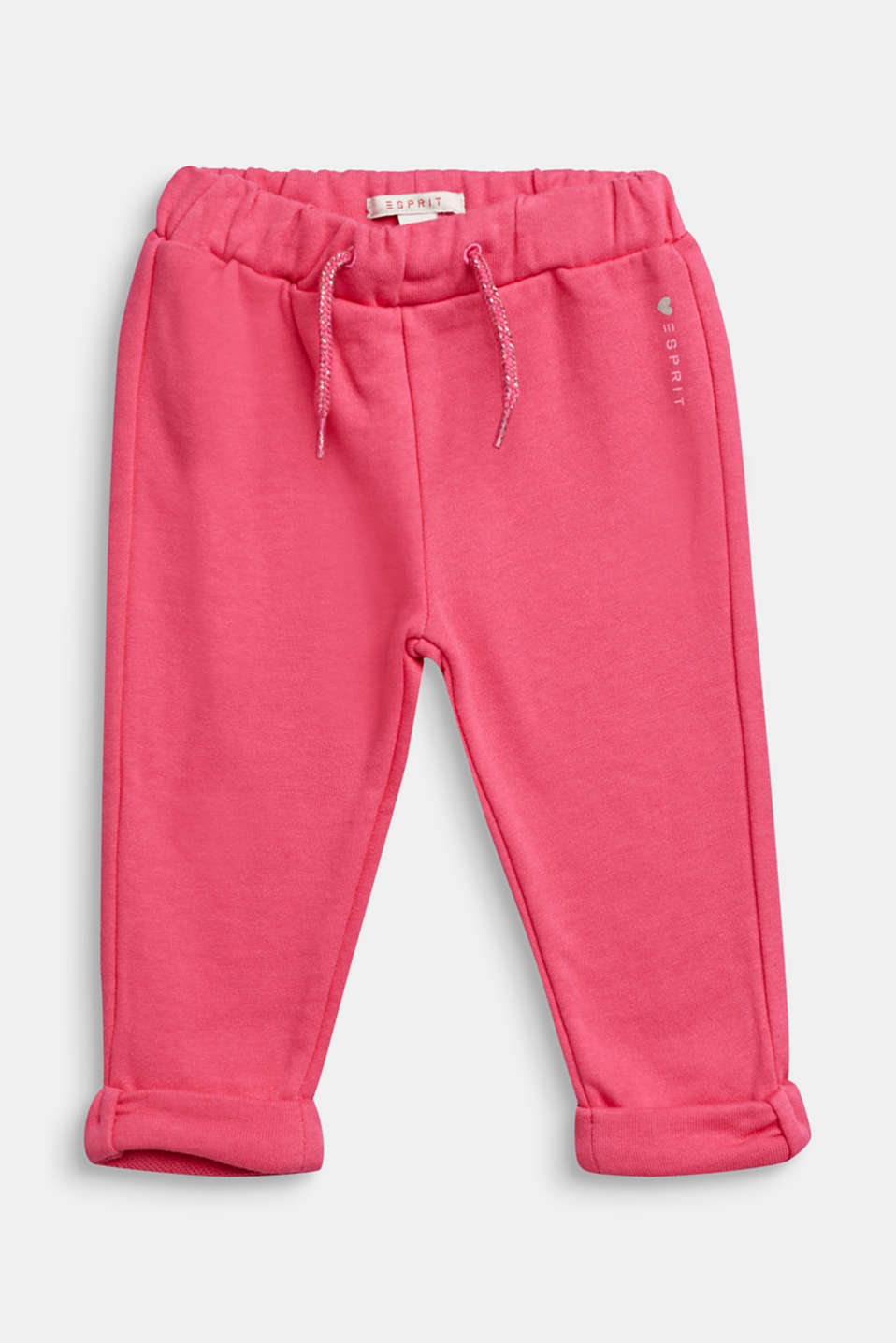 Sweatshirt trousers with glittering drawstring ties, 100% cotton, LCCANDY PINK, detail image number 0