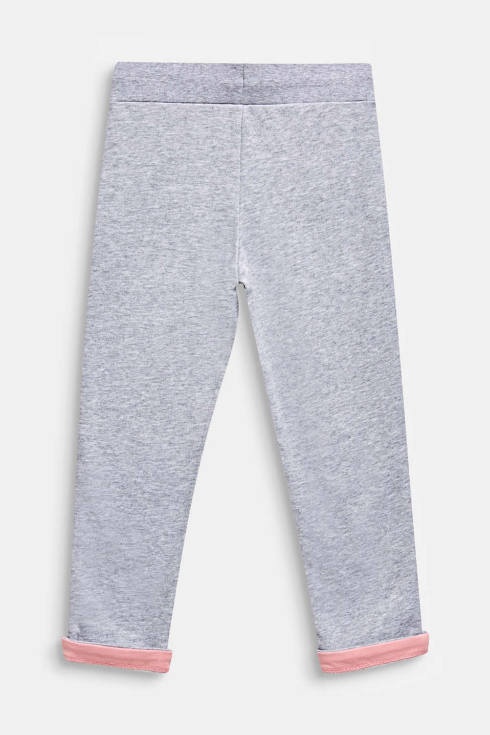 Sweatshirt trousers with contrasting borders, MID HEATHER GR, detail image number 1