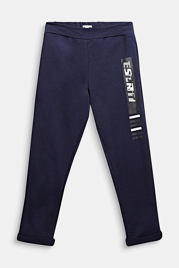 Sweatbroek met print, 100% katoen, MIDNIGHT BLUE, detail image number 0