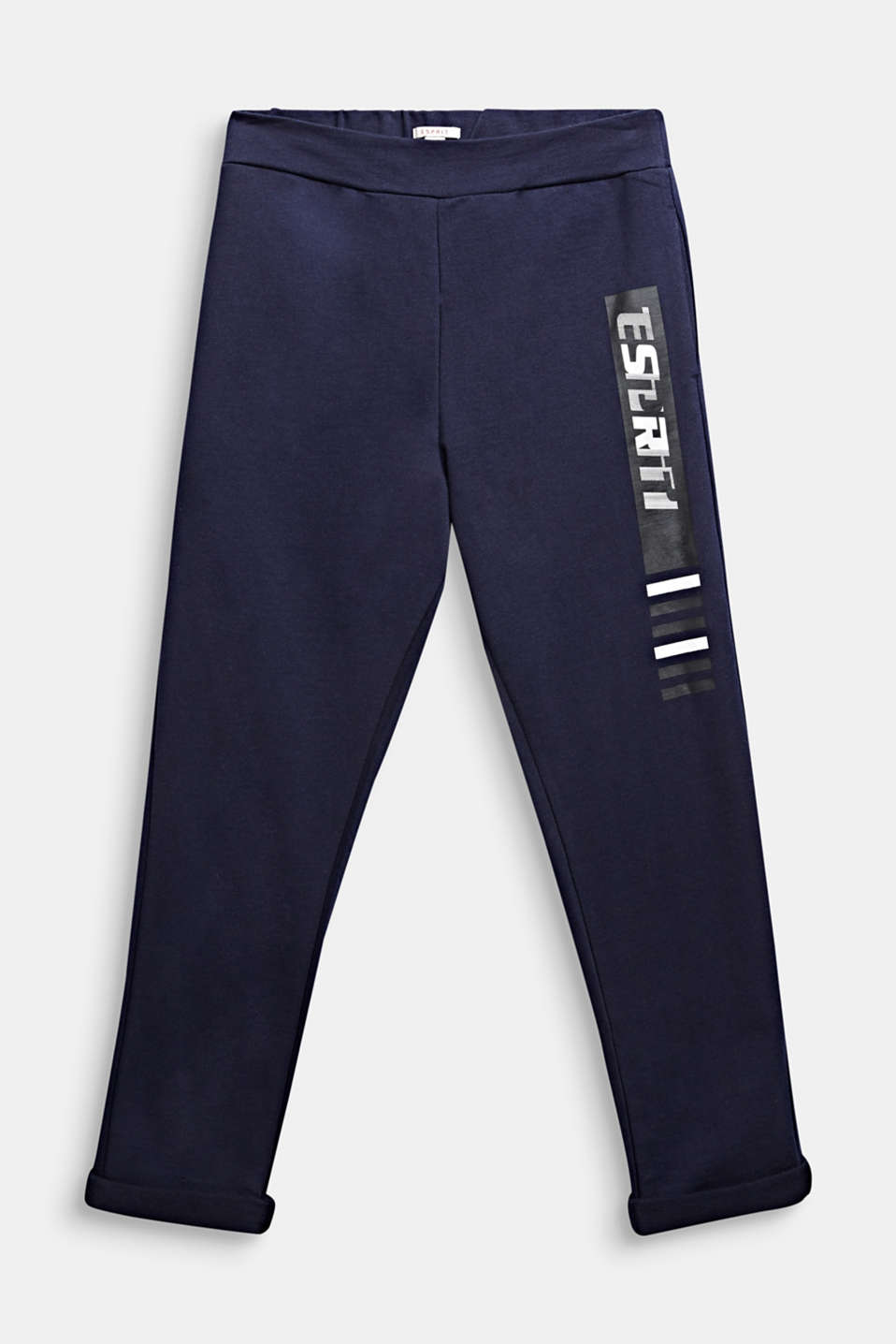 Tracksuit bottoms with a print, 100% cotton, LCMIDNIGHT BLUE, detail image number 0