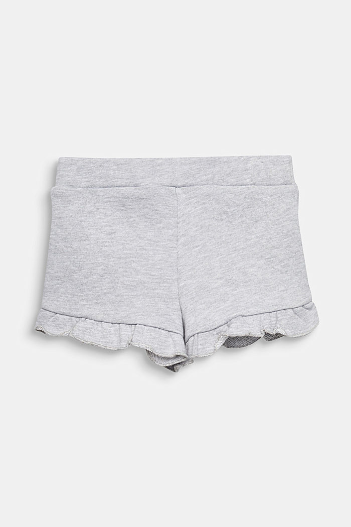 Sweat shorts with frills, HEATHER SILVER, detail image number 1