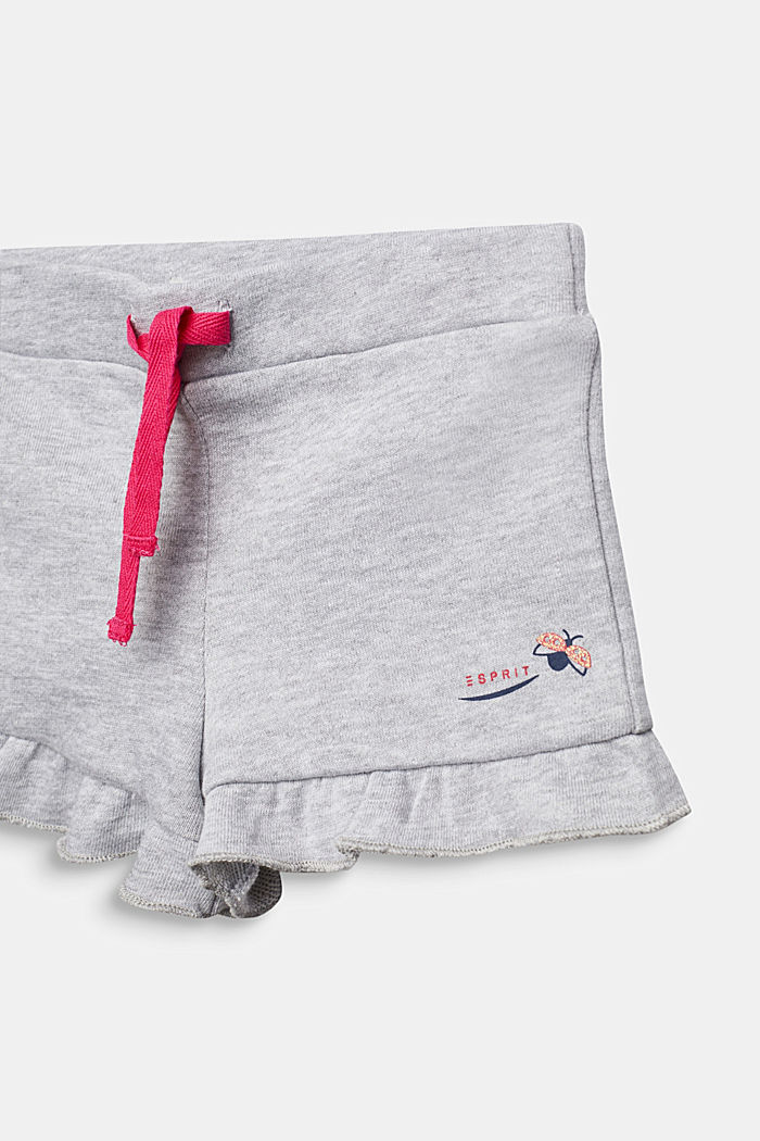 Sweat shorts with frills, HEATHER SILVER, detail image number 2