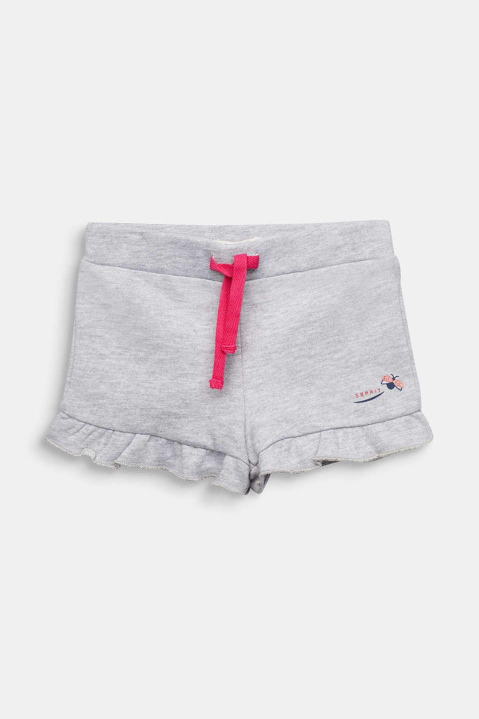 Sweat shorts with frills, HEATHER SILVER, detail image number 0