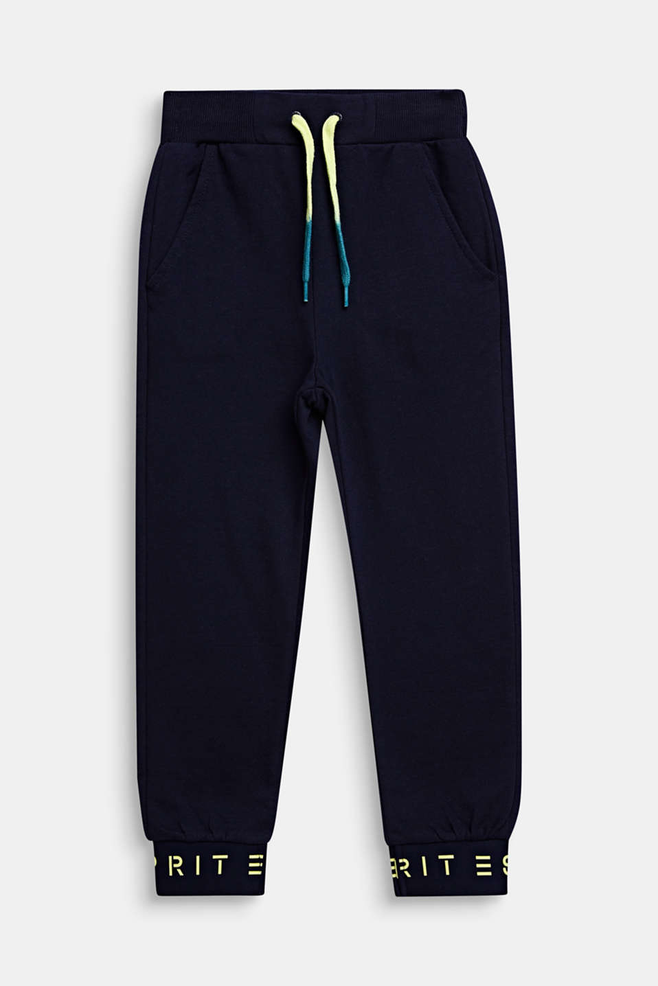 Tracksuit bottoms with logo hems, 100% cotton, MIDNIGHT BLUE, detail image number 0