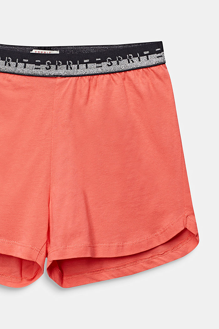 Jersey shorts with a logo waistband, 100% cotton, CORAL, detail image number 2