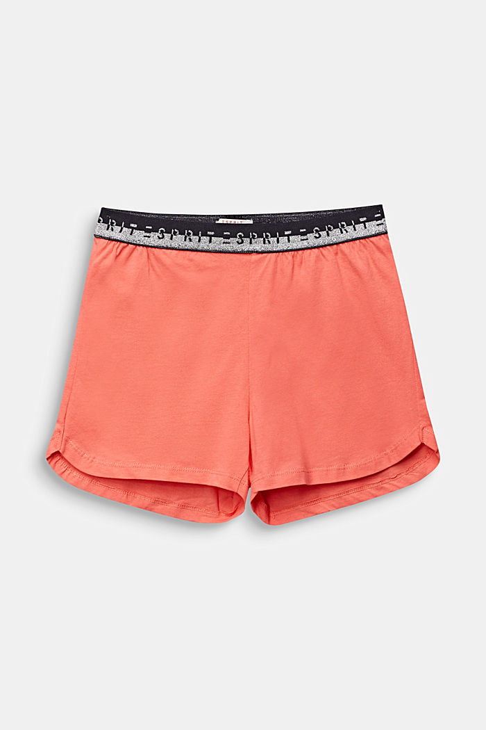 Jersey shorts with a logo waistband, 100% cotton, CORAL, detail image number 0