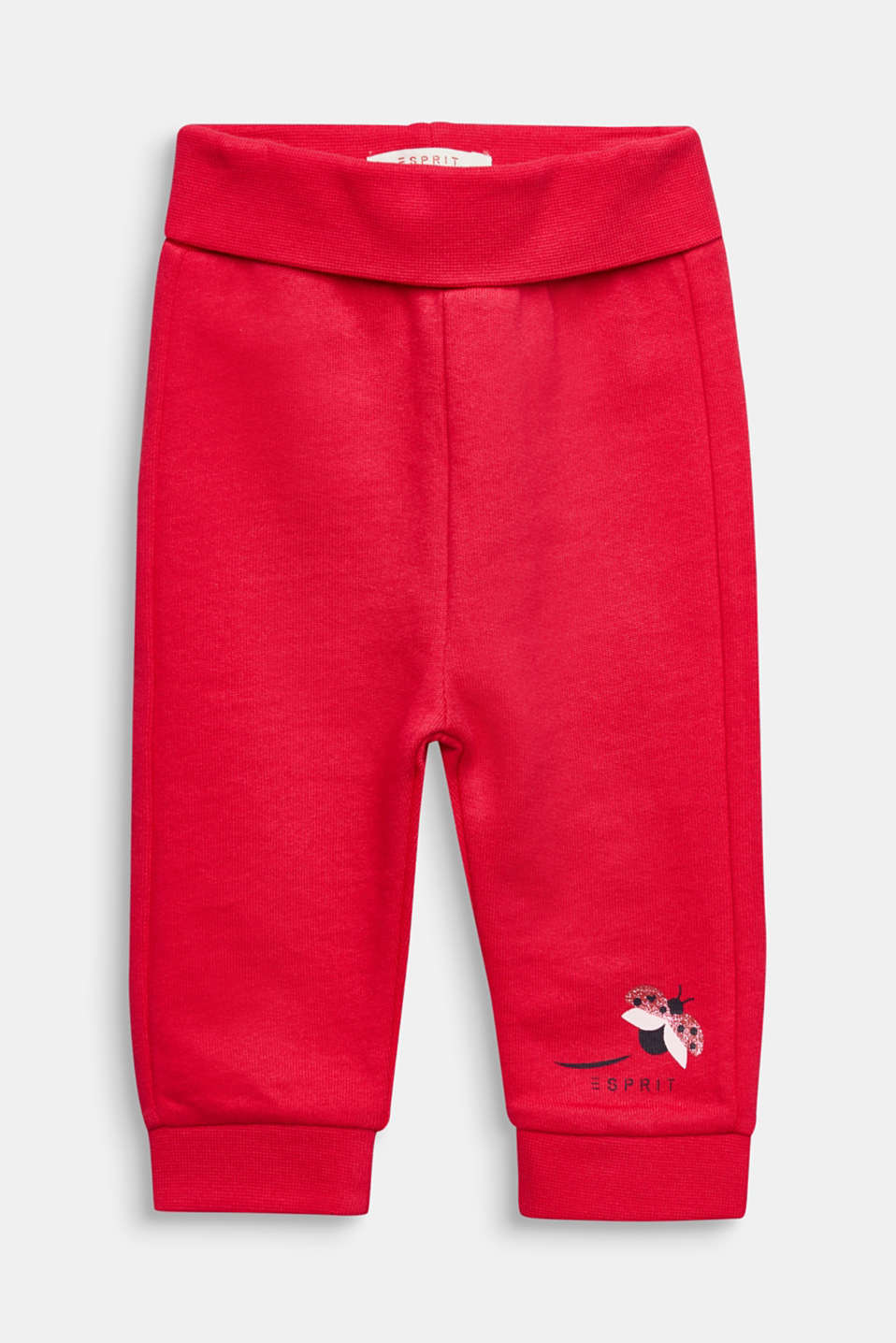 Esprit - Tracksuit bottoms with a print, 100% cotton