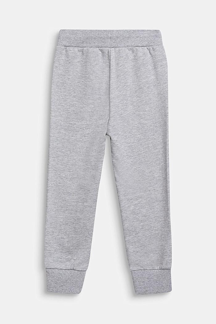 Pantalón de felpa con logotipo estampado, 100% algodón, HEATHER SILVER, detail image number 1