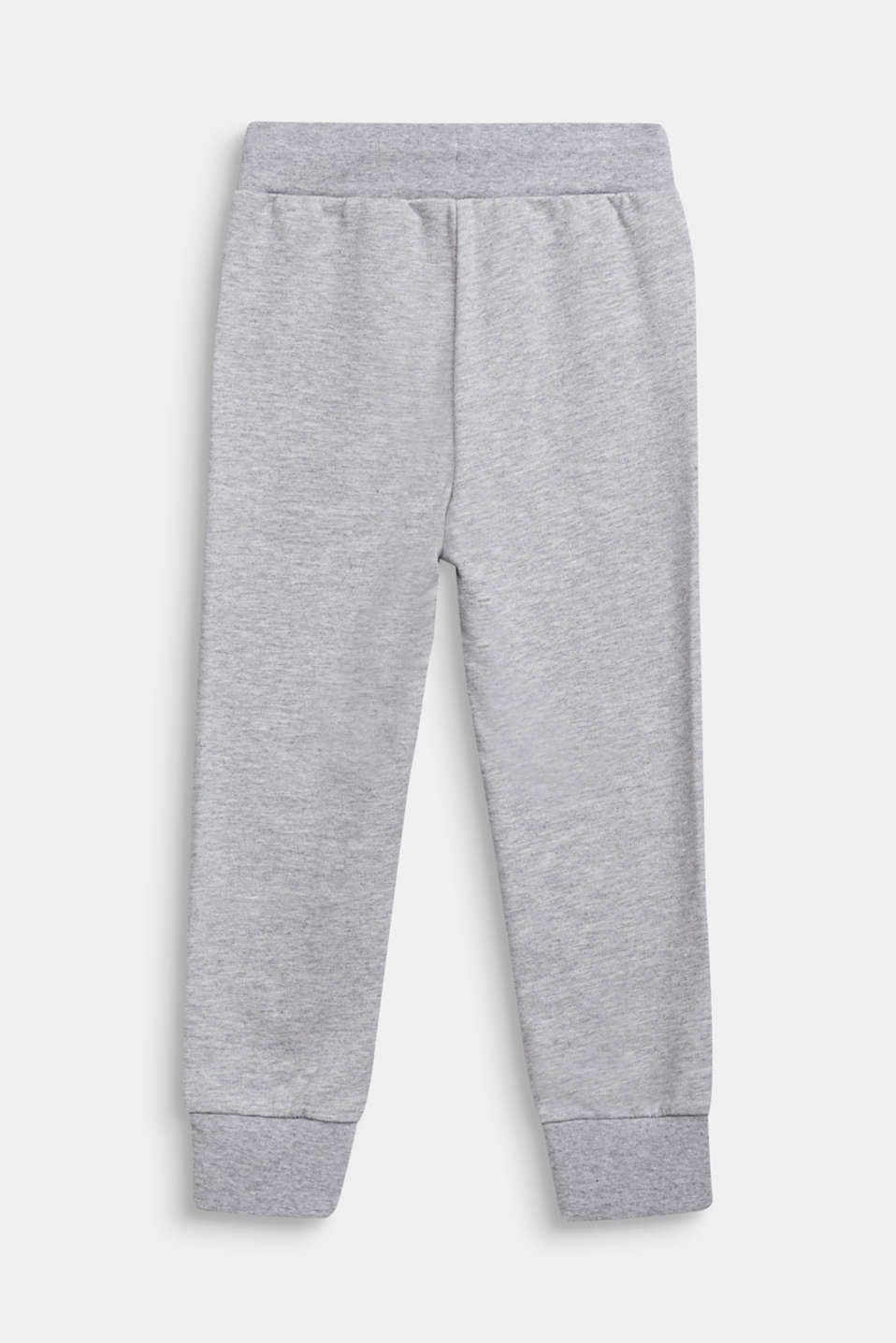 Tracksuit bottoms with a logo print, 100% cotton, HEATHER SILVER, detail image number 1