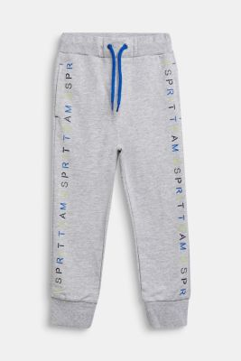 Tracksuit bottoms with a logo print, 100% cotton, HEATHER SILVER, detail