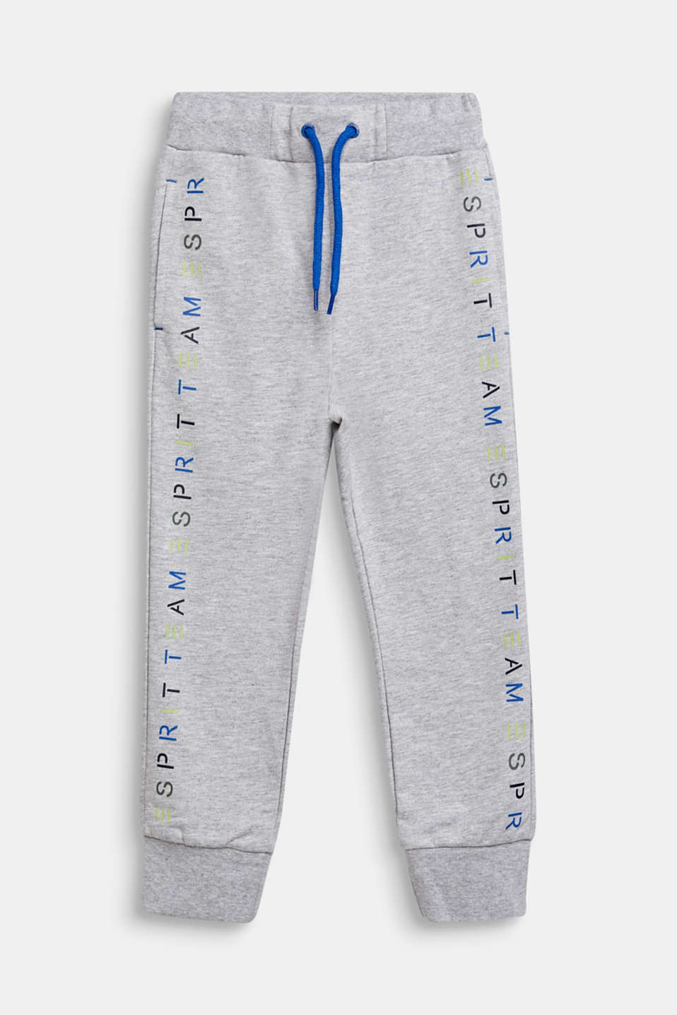 Tracksuit bottoms with a logo print, 100% cotton, HEATHER SILVER, detail image number 0