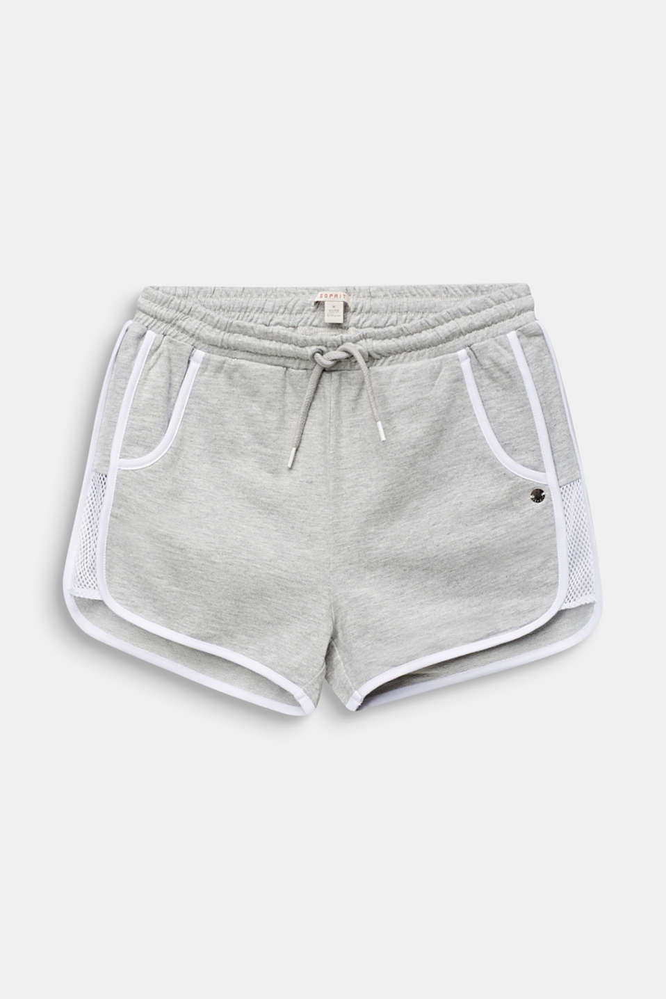 Sweatshirt shorts with net inserts, LCHEATHER SILVER, detail image number 0