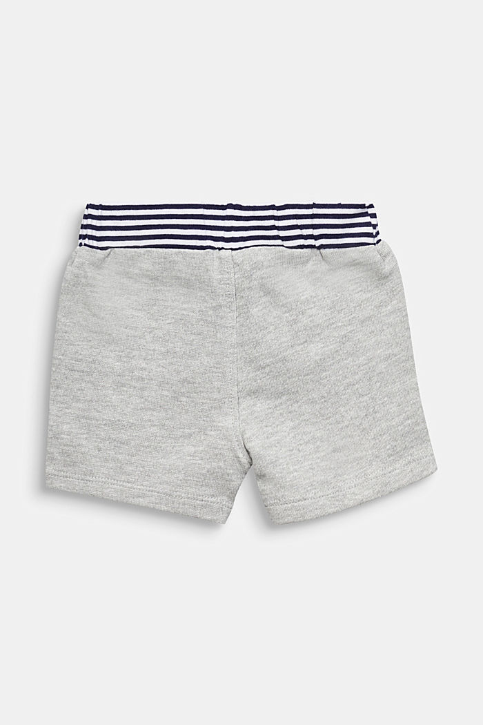 Sweat shorts with striped waistband, HEATHER SILVER, detail image number 1