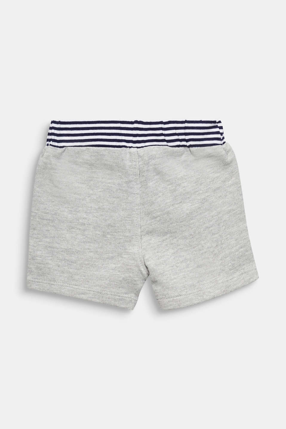 Sweat shorts with striped waistband, LCHEATHER SILVER, detail image number 1