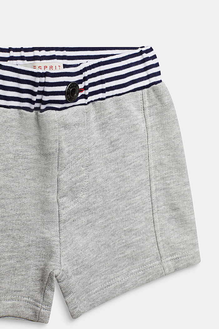 Sweat shorts with striped waistband, HEATHER SILVER, detail image number 2