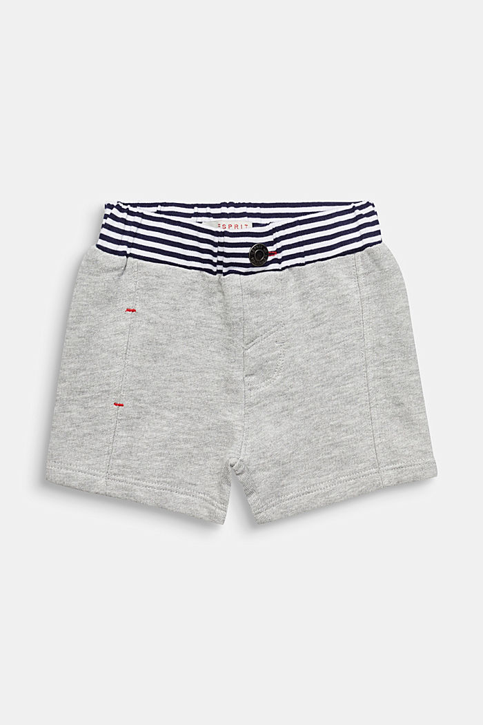 Sweat shorts with striped waistband, HEATHER SILVER, detail image number 0