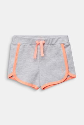 Sweat shorts with NEON, 100% cotton, HEATHER SILVER, detail