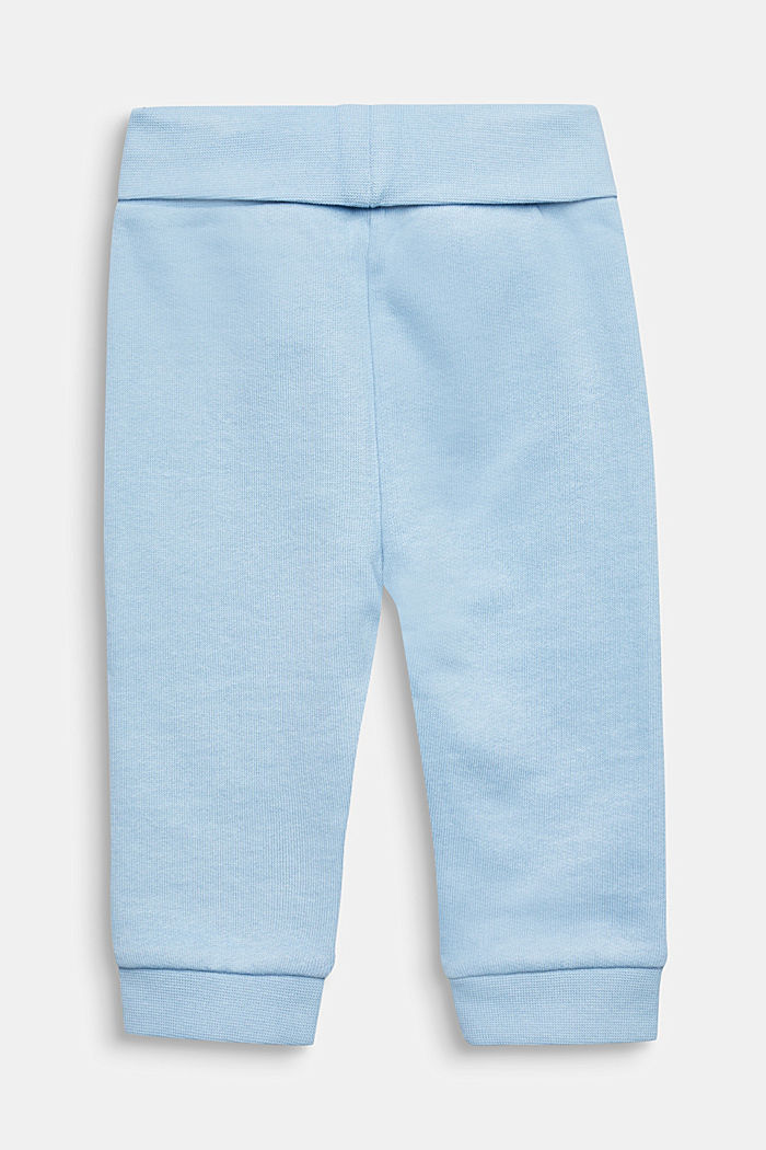 Tracksuit bottoms with a print, 100% cotton, LIGHT BLUE, detail image number 1