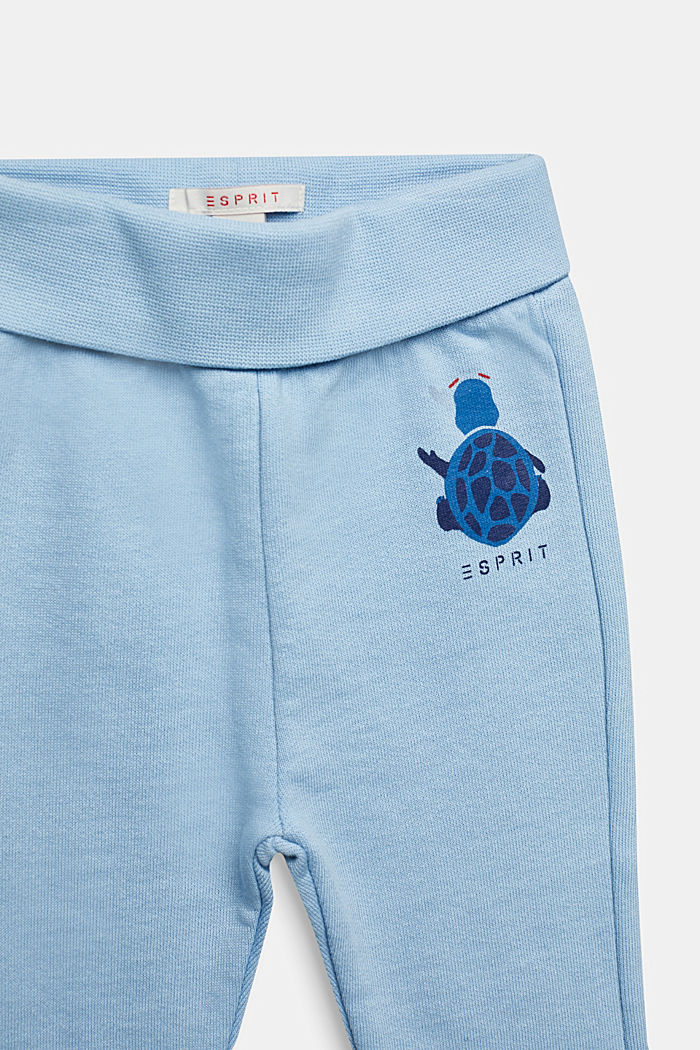Tracksuit bottoms with a print, 100% cotton, LIGHT BLUE, detail image number 2