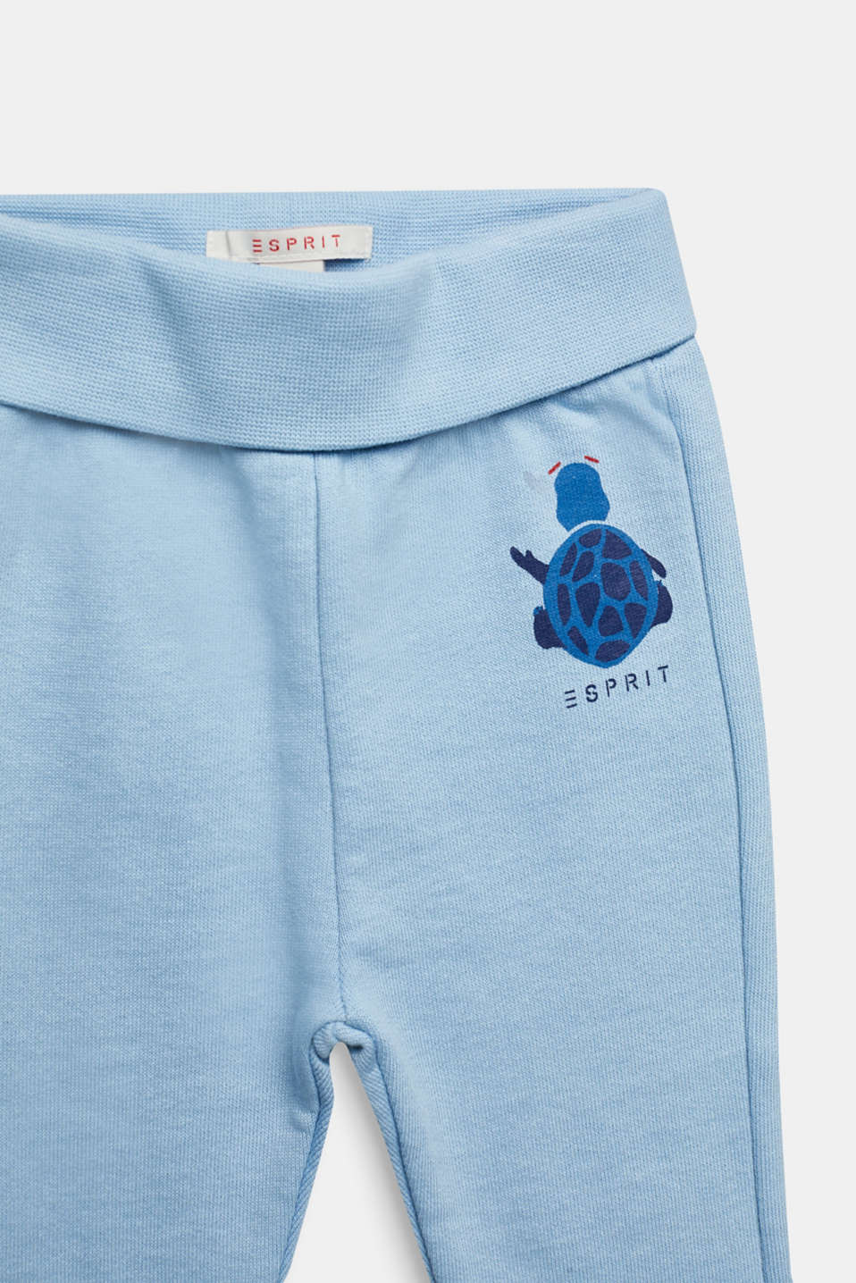 Tracksuit bottoms with a print, 100% cotton, LCLIGHT BLUE, detail image number 2
