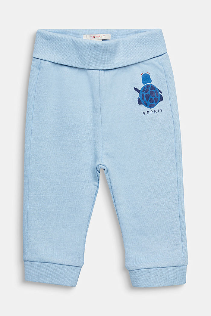 Tracksuit bottoms with a print, 100% cotton, LIGHT BLUE, detail image number 0