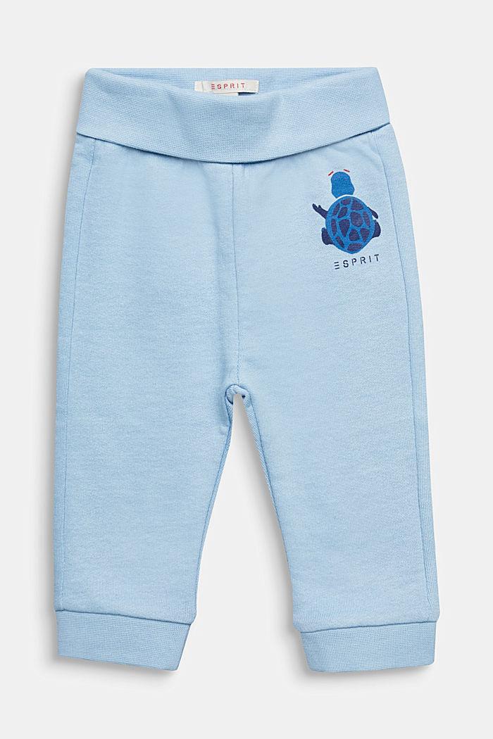 Sweatbroek met print, 100% katoen, LIGHT BLUE, detail image number 0