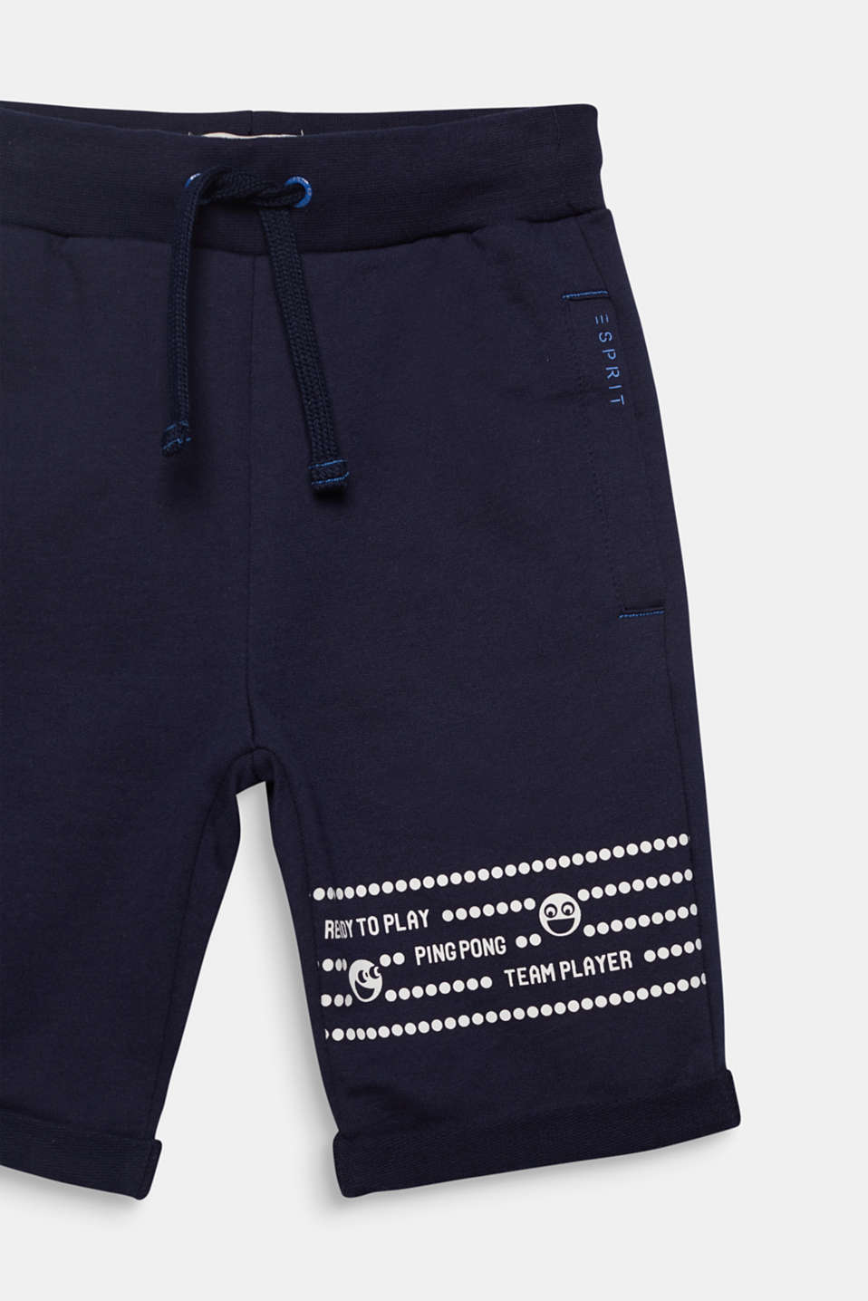 Sweatshirt tracksuit bottoms with a print, 100% cotton, MIDNIGHT BLUE, detail image number 2