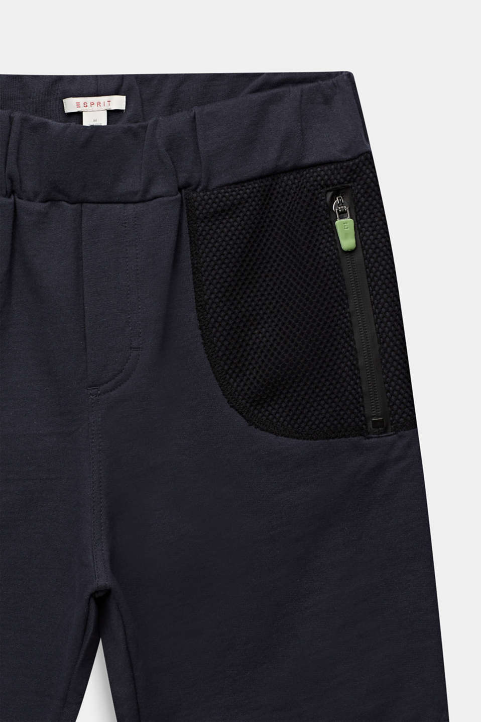 Sweatshirt shorts with mesh inserts, LCANTHRACITE, detail image number 2