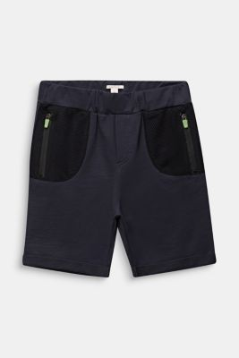 Sweatshirt shorts with mesh inserts, LCANTHRACITE, detail