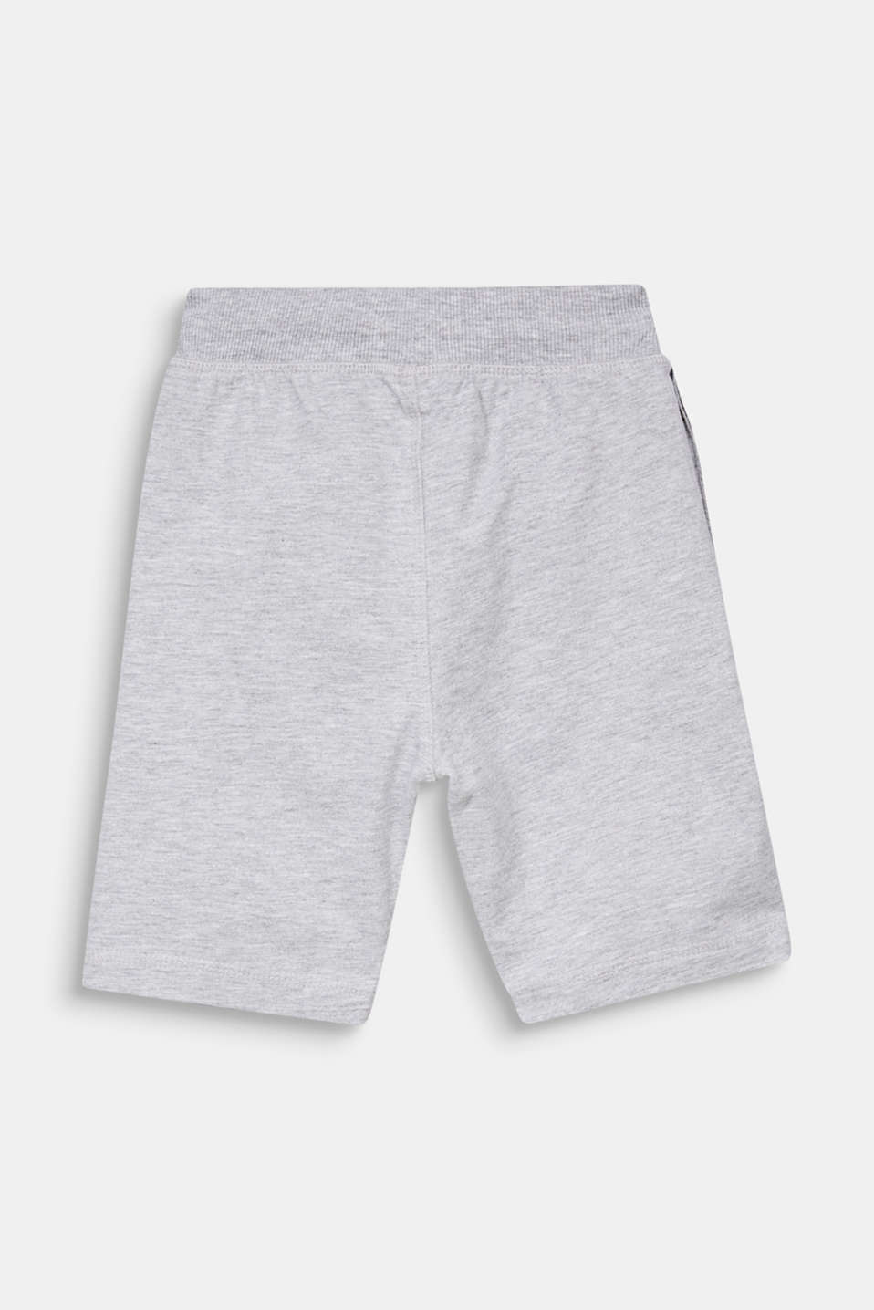Sweatshirt shorts with a print, 100% cotton, HEATHER SILVER, detail image number 1