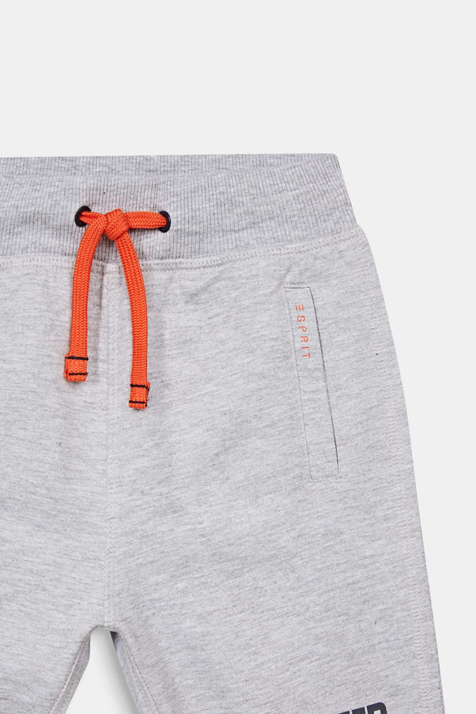 Sweatshirt shorts with a print, 100% cotton, HEATHER SILVER, detail image number 2