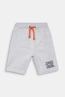 Sweatshirt shorts with a print, 100% cotton, HEATHER SILVER, detail