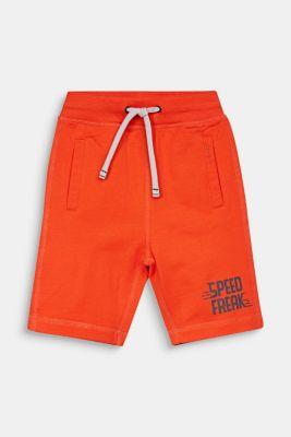 Sweatshirt shorts with a print, 100% cotton, TANGERINE, detail
