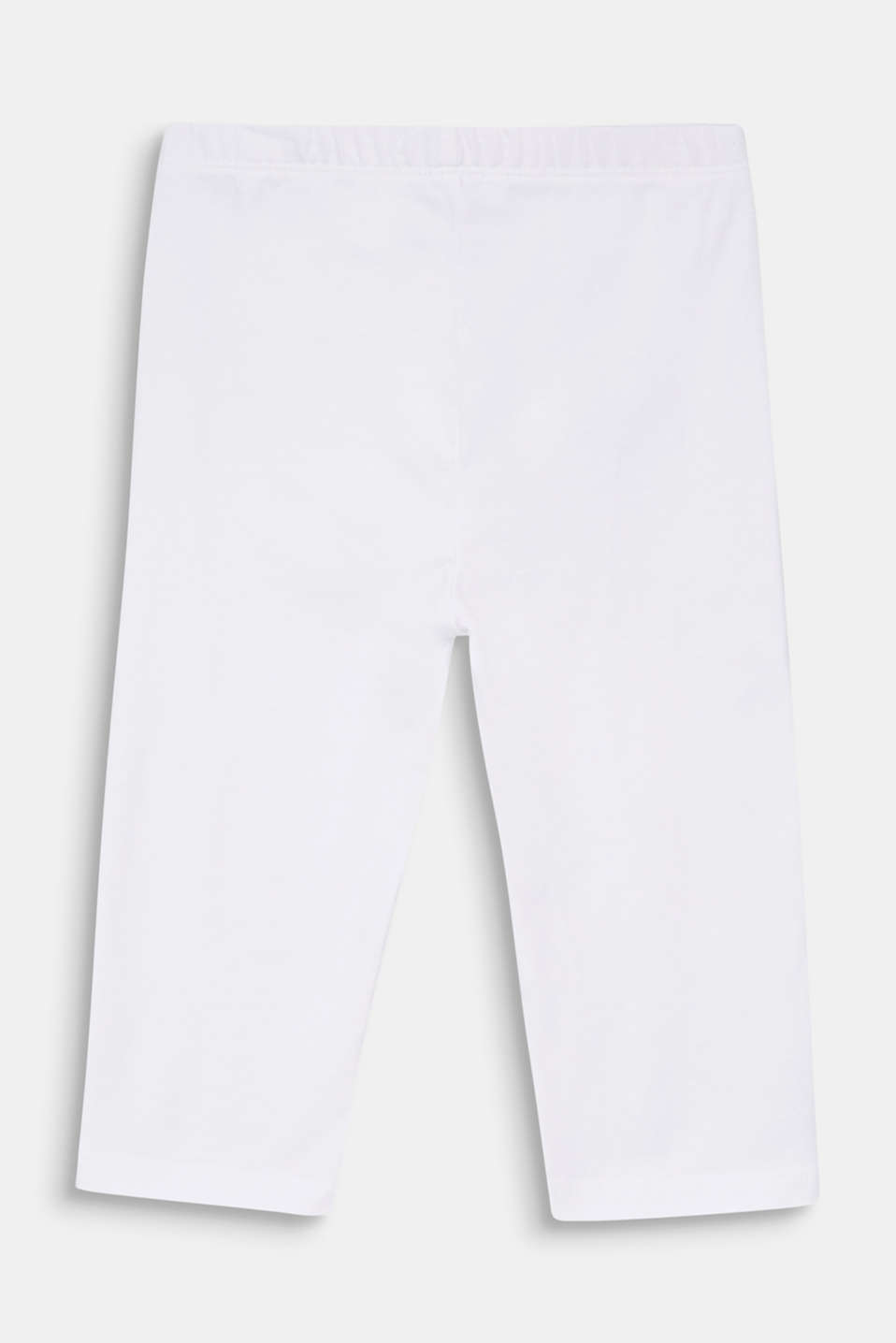Stretch cotton Capri leggings, WHITE, detail image number 1