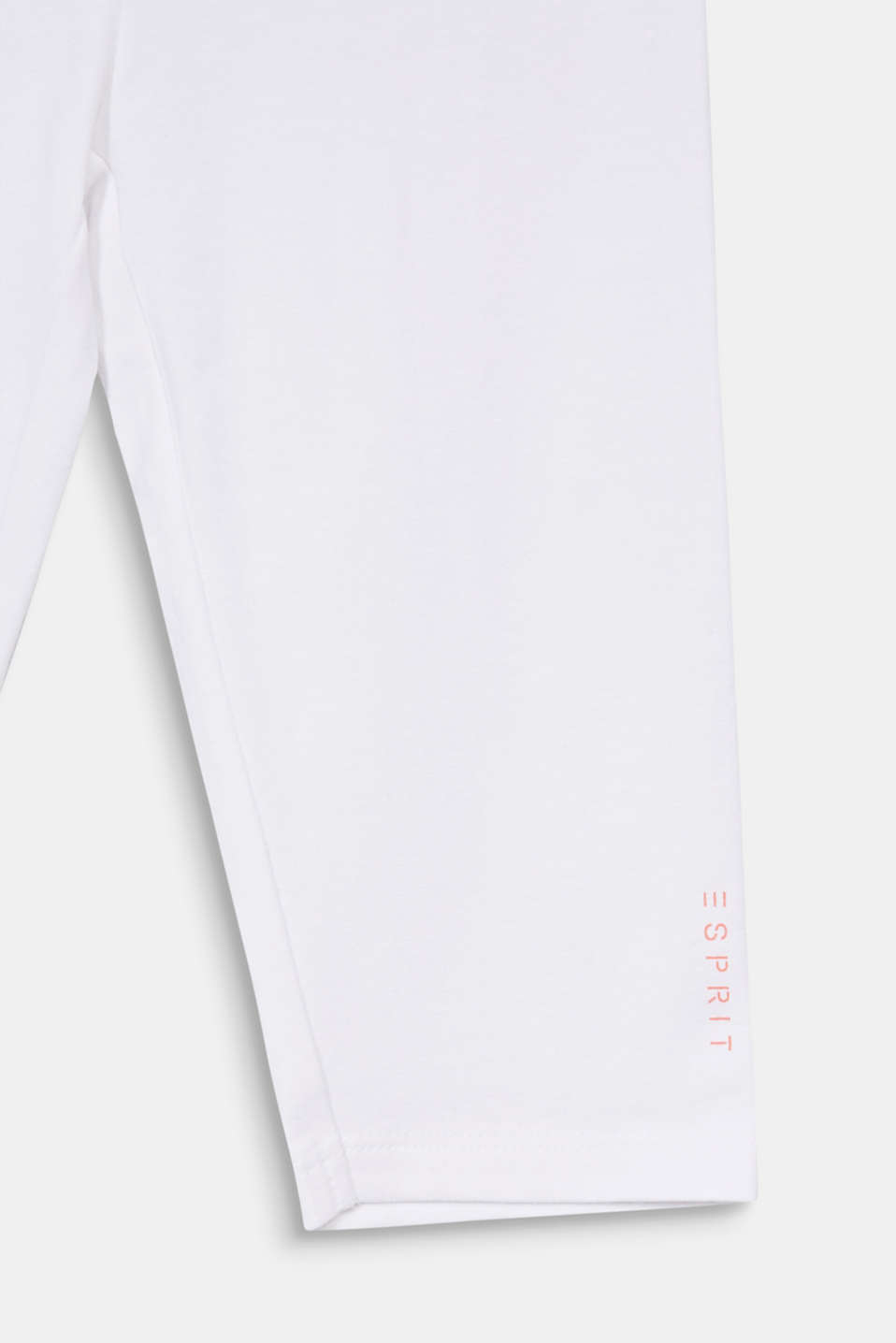 Stretch cotton Capri leggings, WHITE, detail image number 2