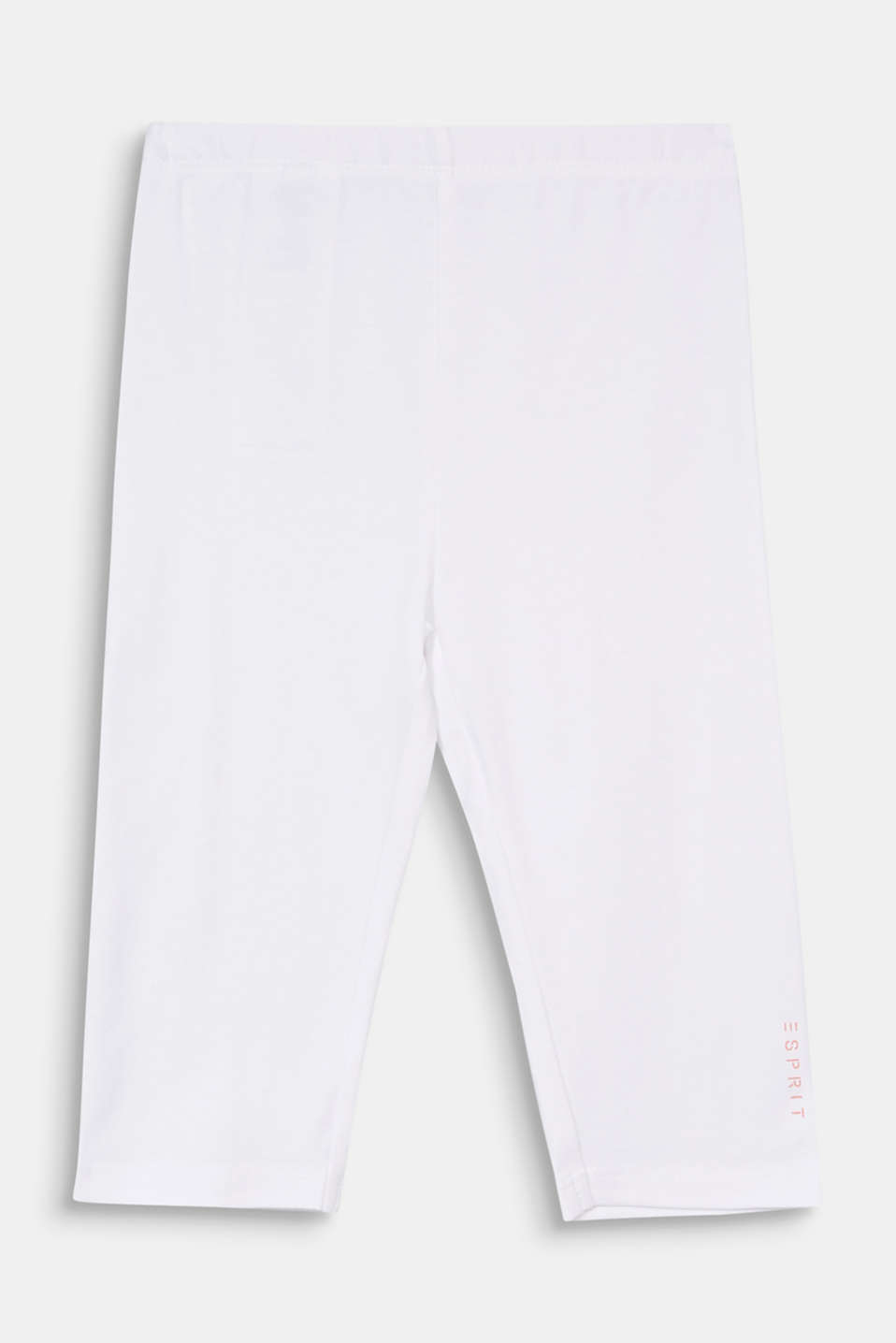 Stretch cotton Capri leggings, WHITE, detail image number 0
