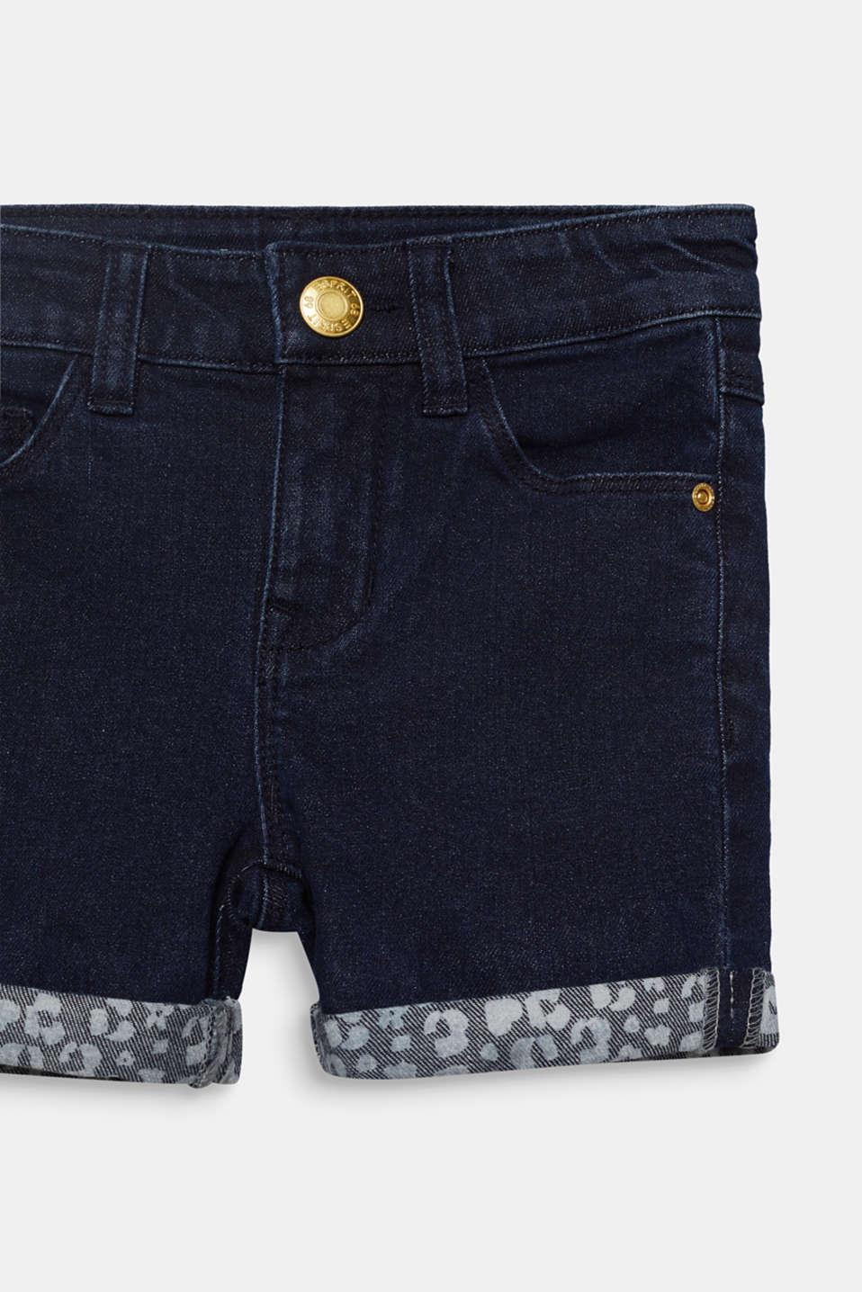 Dark denim shorts with turn-ups, adjustable waistband, DARK INDIGO DE, detail image number 2