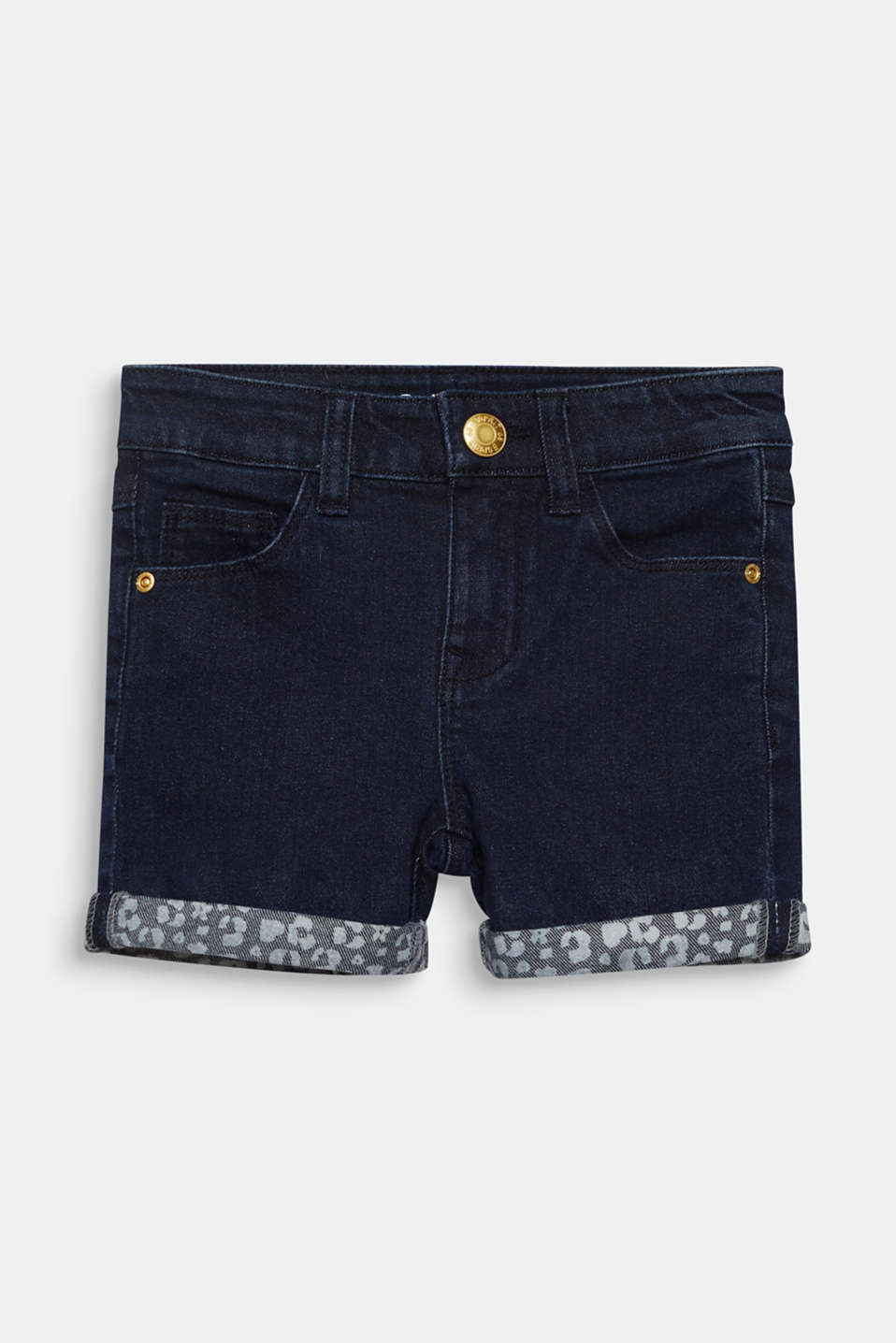 Esprit - Shorts in denim scuri con risvolti, vita regolabile