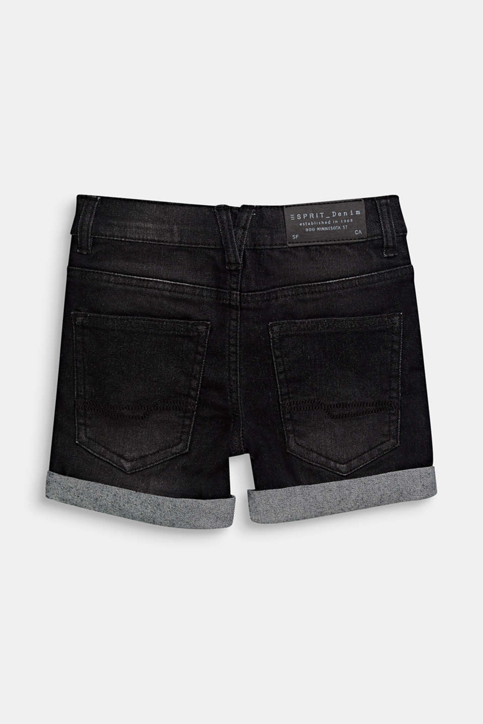 Stretch denim shorts with turn-ups and an adjustable waistband, BLACK DENIM, detail image number 1