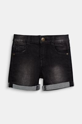 Stretch denim shorts with turn-ups and an adjustable waistband, BLACK DENIM, detail