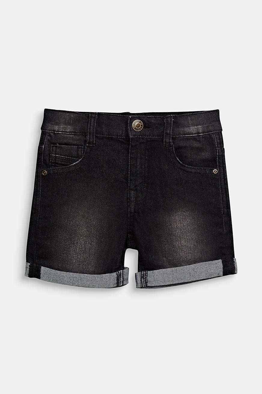Denim short met stretch, omslag en verstelbare band