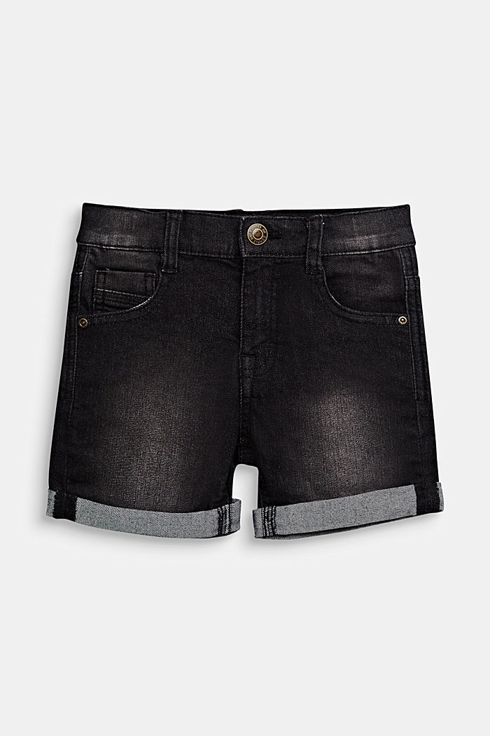 Stretch denim shorts with turn-ups and an adjustable waistband