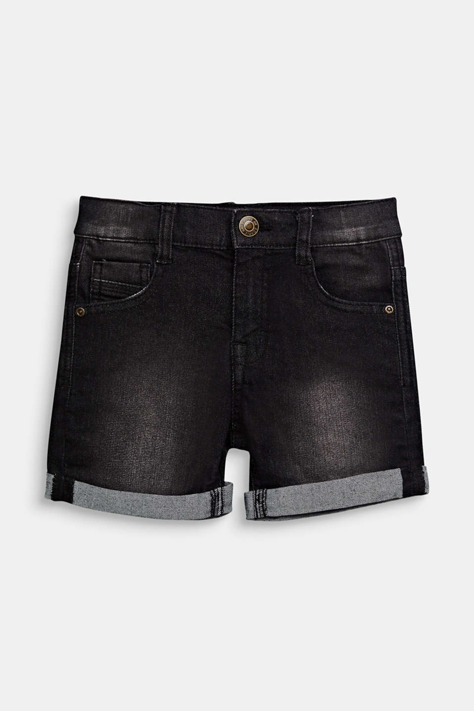 Esprit - Denim short met stretch, omslag en verstelbare band