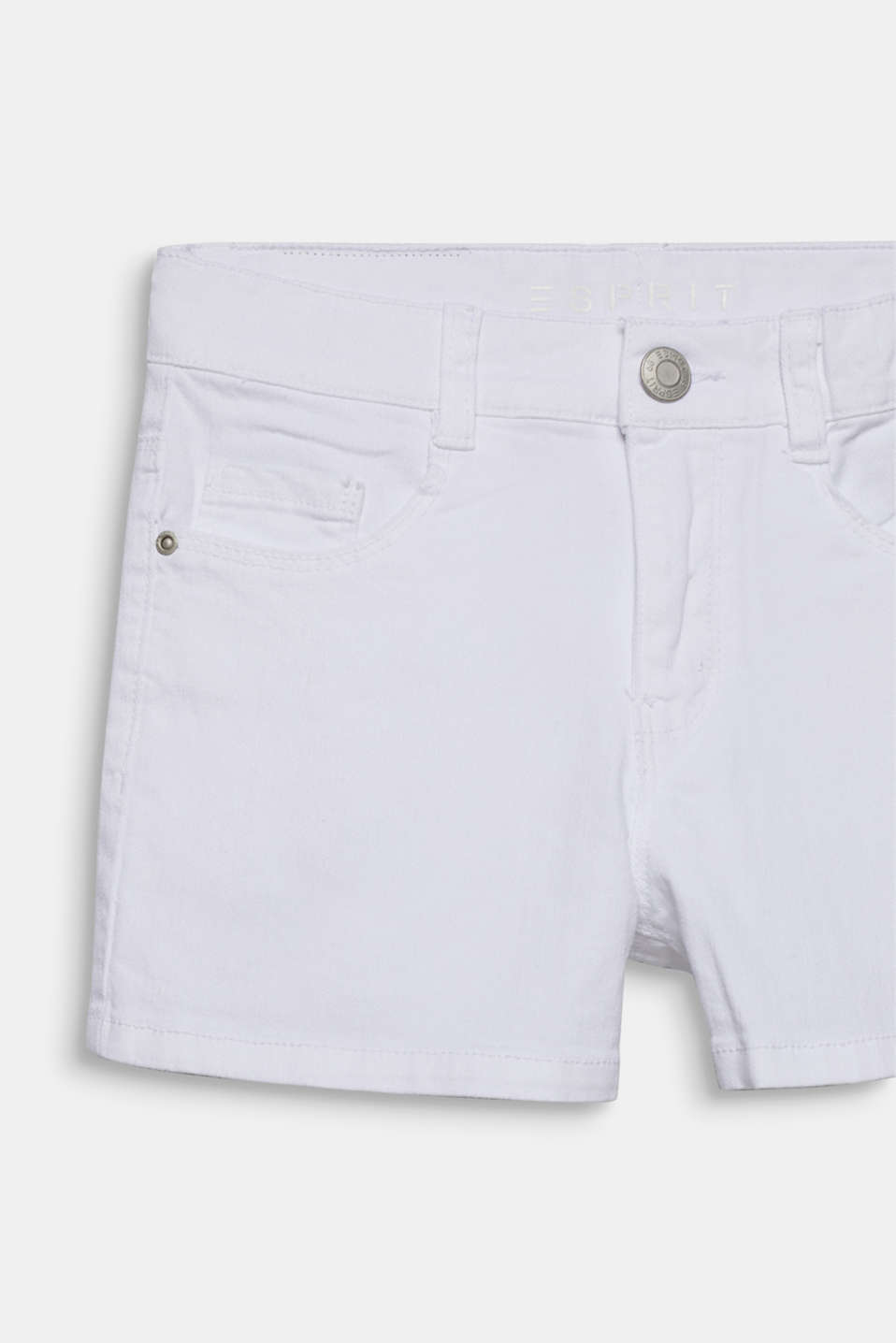 Skinny stretch denim shorts, adjustable waistband, LCWHITE, detail image number 2