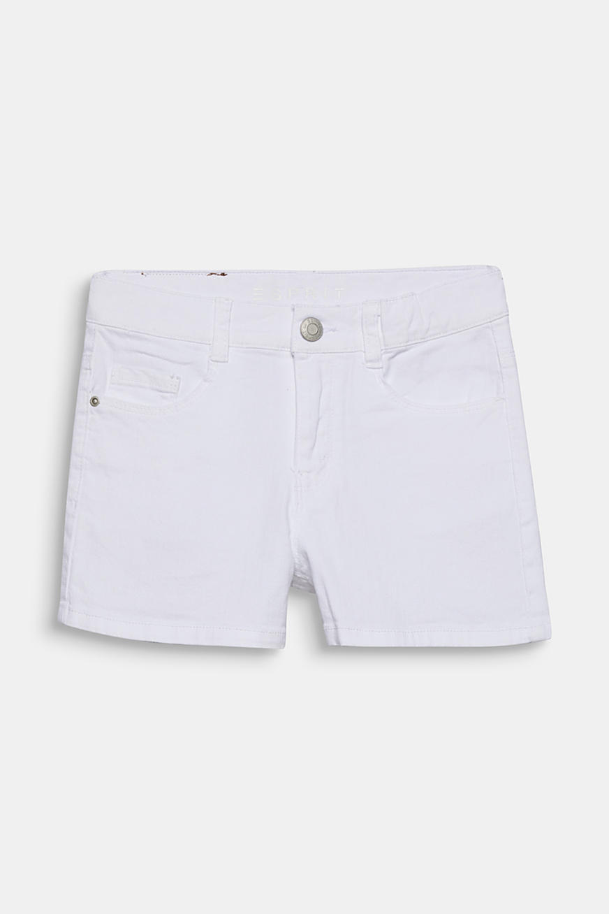 Skinny stretch denim shorts, adjustable waistband